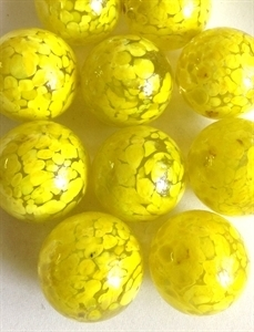 Picture of MJ3222DA  HANDMADE 25MM Set of 10 Marbles, CLEAR w/Yellow spots