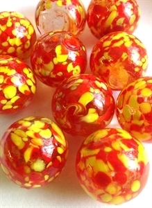 Picture of MJ3222CA  HANDMADE 25MM Set of 10 Marbles, CLEAR w/Red & Yellow spots