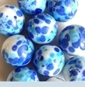Picture of MJ3222A  HANDMADE 25MM Set of 10 Marbles, White w/Blue & Turquoise spots