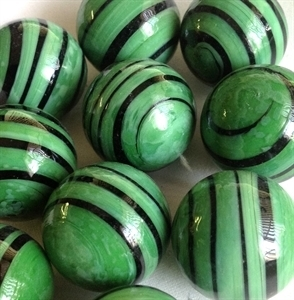 Picture of MJ3222C  HANDMADE 25MM Set of 10 Marbles, Green w/Black STRIPES