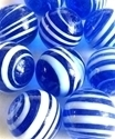 Picture of MJ3222AB  HANDMADE 25MM Set of 10 Marbles, Transparent Blue w/White stripes