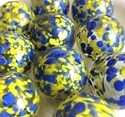 Picture of MJ3222F  HANDMADE 25MM Set of 10 Marbles, Clear w/Blue & Yellow spots