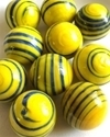 Picture of MJ3222D  HANDMADE 25MM Set of 10 Marbles, Yellow w/Blue stripes