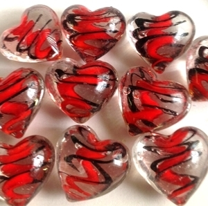 "Picture of MM30551 Clear Glass Heart Shaped gems w/red and black swirls 1"", 10PCS"
