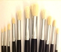 Picture of ART135  bleached bristle paint brush, round, aluminium ferrules. package