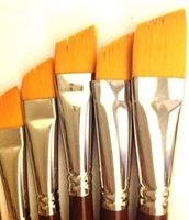 Picture of ART171  Golden Synthetic Hair Angular Style Paint Brush Set  7pcs
