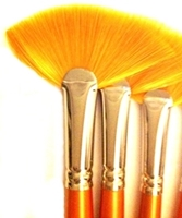 Picture of ART177  Golden Synthetic Hair Fan Style Paint Brush Set 9pcs