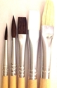 Picture of ART206  Pony Hair Paint Brush 5pc set Round and Flat Styles