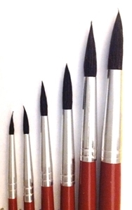 Picture of ART208  sable hair paint brush 6pc set round style