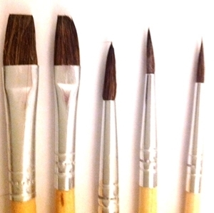 Picture of ART209  Pony Hair Paint Brush 5pc set Round Style and flat style