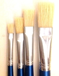 Paint Brush Set - 4pc Flat Synthetic Hair Brushes