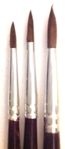 Picture of ART230  triple pony hair paint brush package, round style