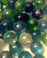 Picture of MN14  25MM Transparent Marbles clear, green, teal and blue