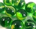 Picture of M170A 16MM Transparent green with yellow swirls twisted glass marbles