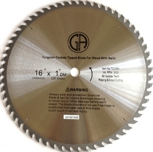 """Picture of TC606N    16"""" 60 TOOTH - Tungsten Carbide Tipped Saw Blade for WOOD with NAILS"""