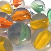 Picture of M218 25MM Clear with various colored swirls marbles