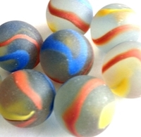 Picture of M222 25MM Frosted Clear Base With Yellow, Orange & Red Swirls Glass Marbles