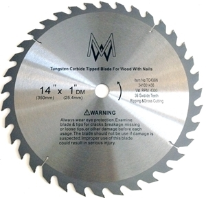"""Picture of TC436N 14""""36T for Wood with Nails 1"""" Arbor shim to 5/8"""""""